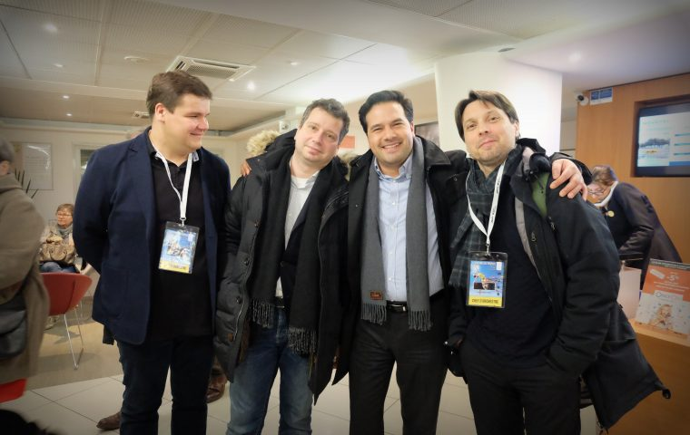 From left to right : Andris Poga, Dmitri Makhtin (violin), Robert Trevino, Roberto Fores Veses.